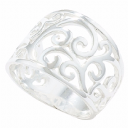 Sterling silver Wide floral Filigree ring